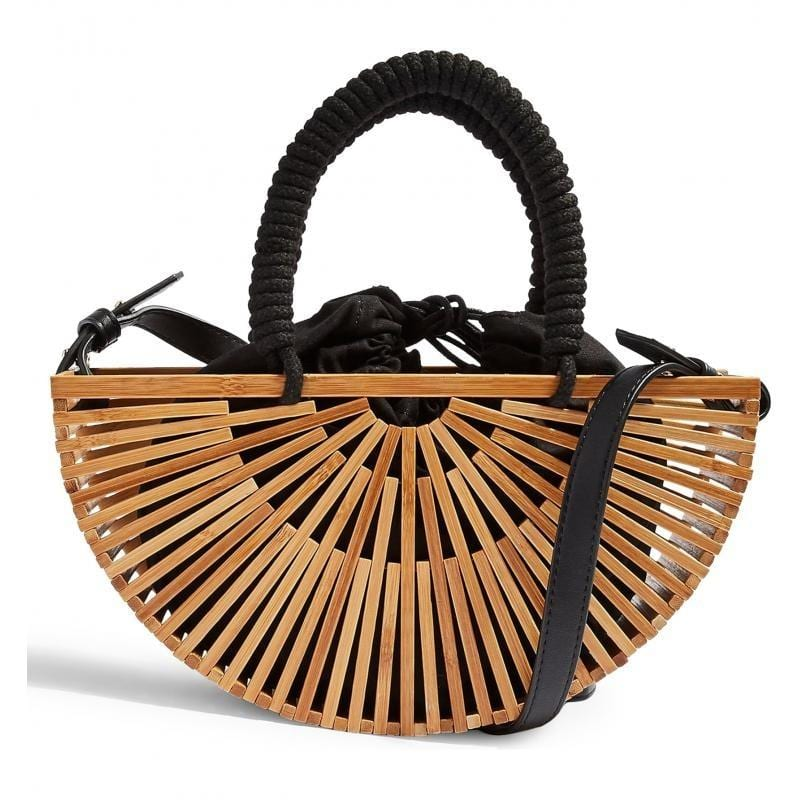 Vacation woven leather handbag