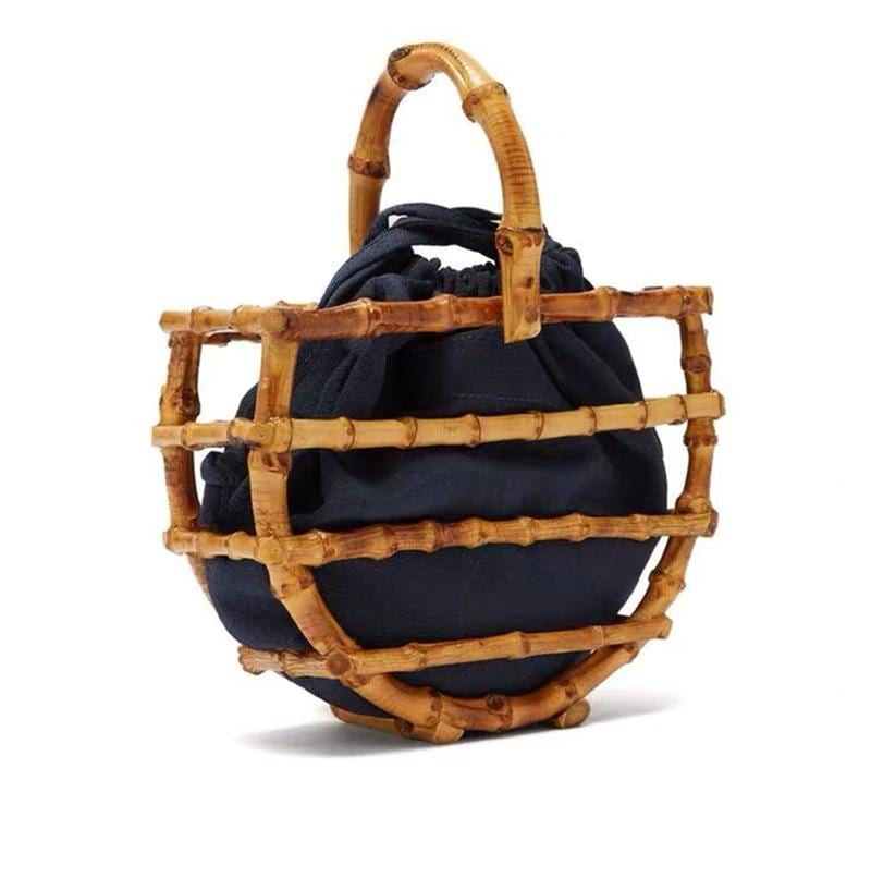 Black rattan tote bag 2021