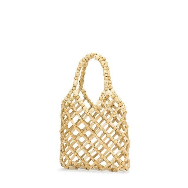 Beige straw handbag for summer