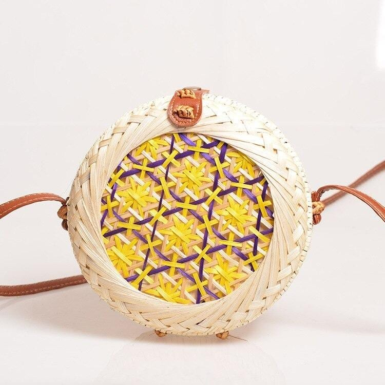 When round rattan bag large
