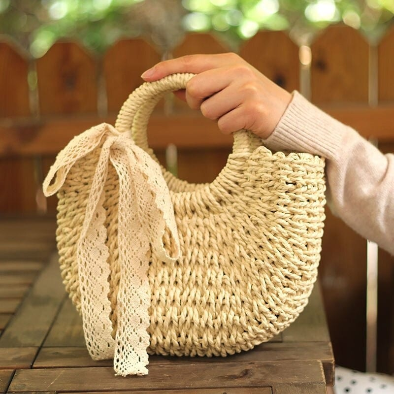 Basket wicker handbag premium