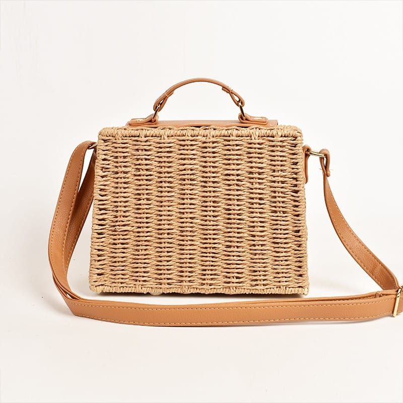 What navy summer straw bag