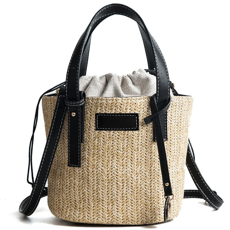 Large straw bag with flowers