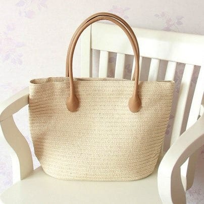 Where small wicker beach bag