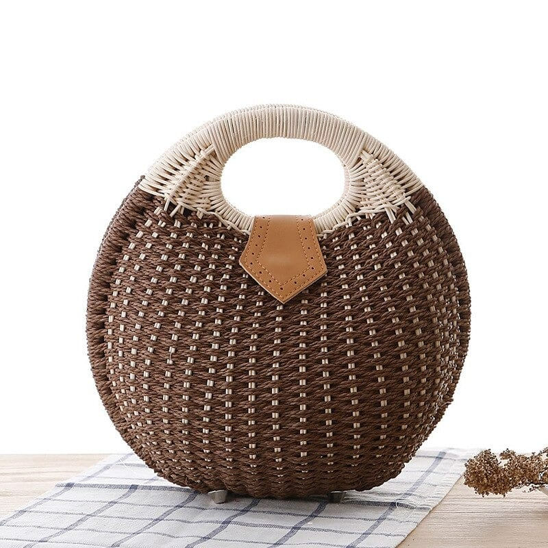 Brown woven leather handbag quality