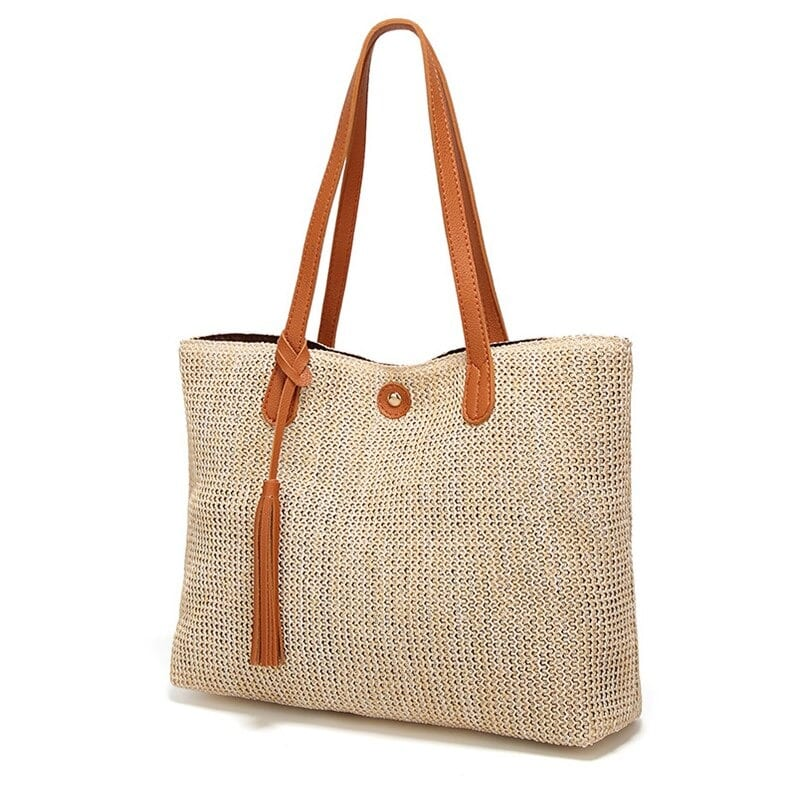 Wicker handbags and totes suggest