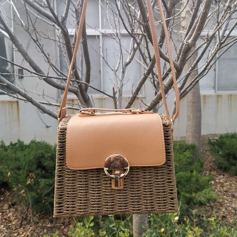 How much basket woven leather handbag better
