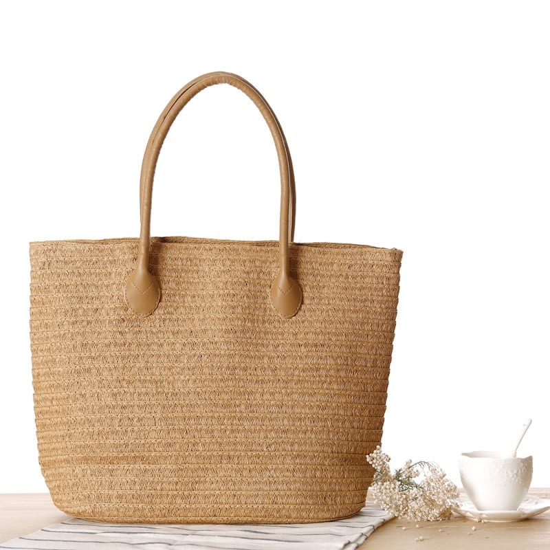 Round straw crossbody bag leather handles
