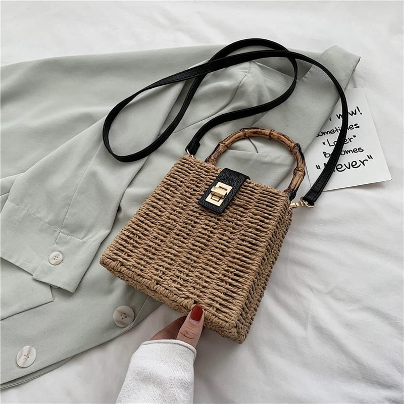 Woven leather tote bali