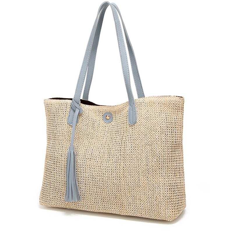 Holiday designer straw handbag