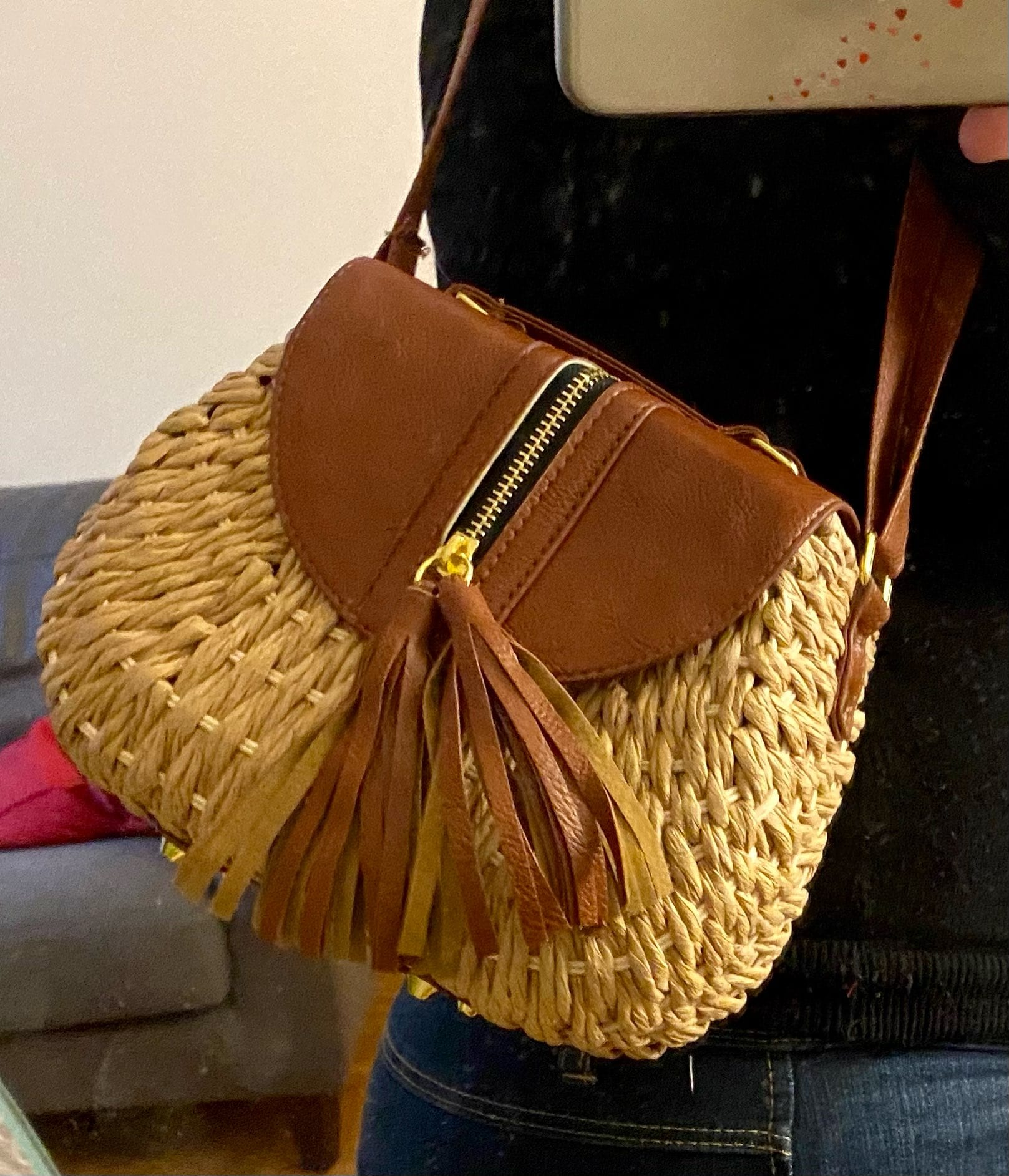 Extra large designer straw bag value