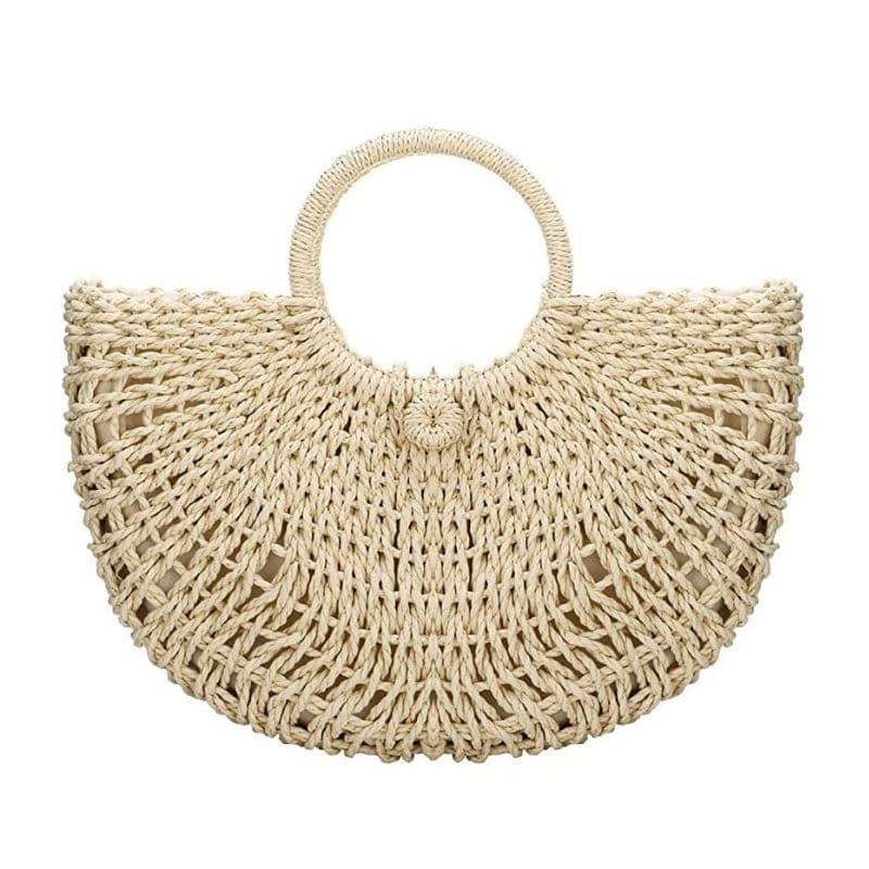 Half moon wicker handbag