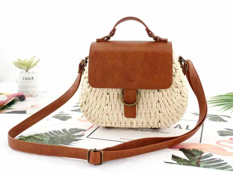 Travel straw bag with leather handles good