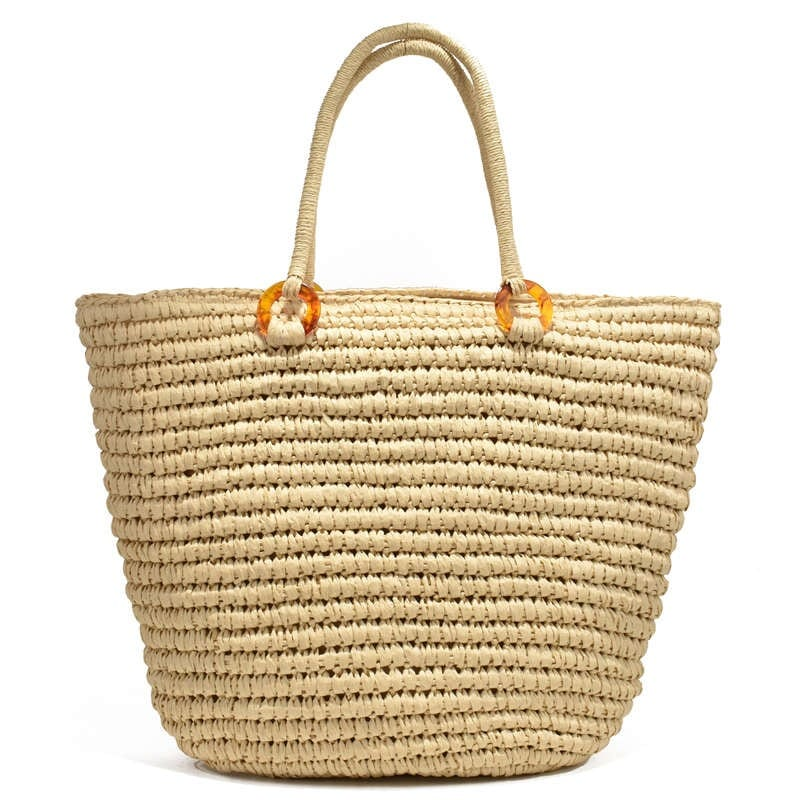 Which lined straw woven bag suggest