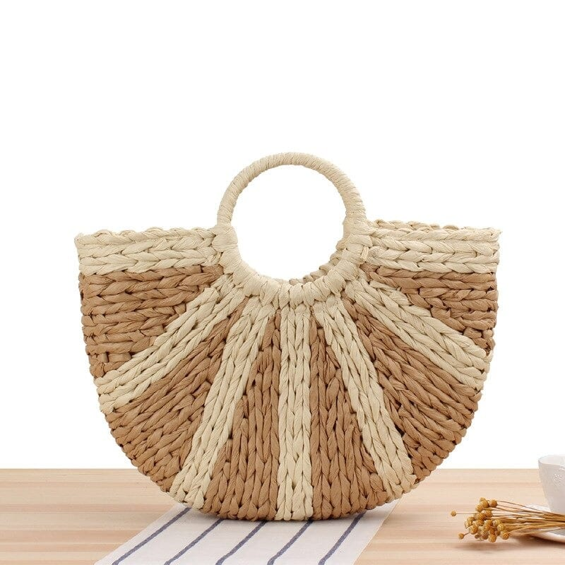 When khaki woven bucket bag