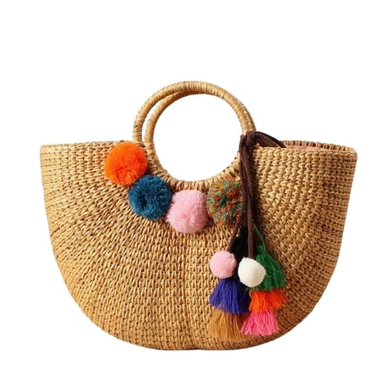 How long small woven straw bags