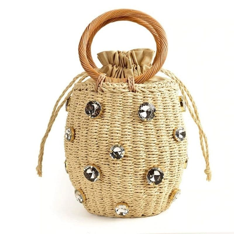 Knitted designer straw handbag