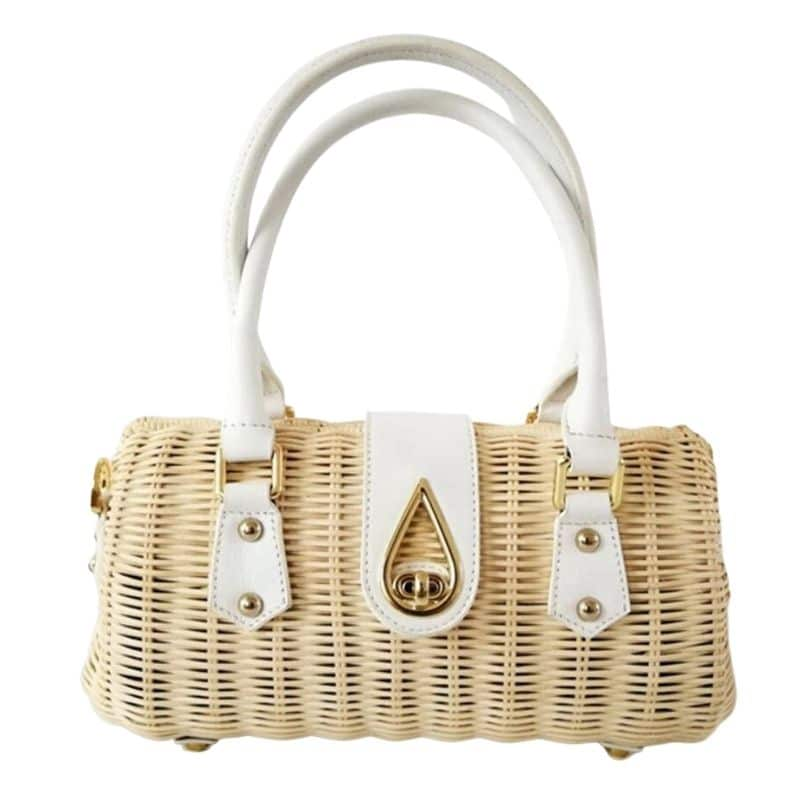 Why stripped large straw bag suggest
