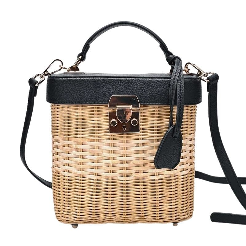 Ladies straw bag with leather handless value