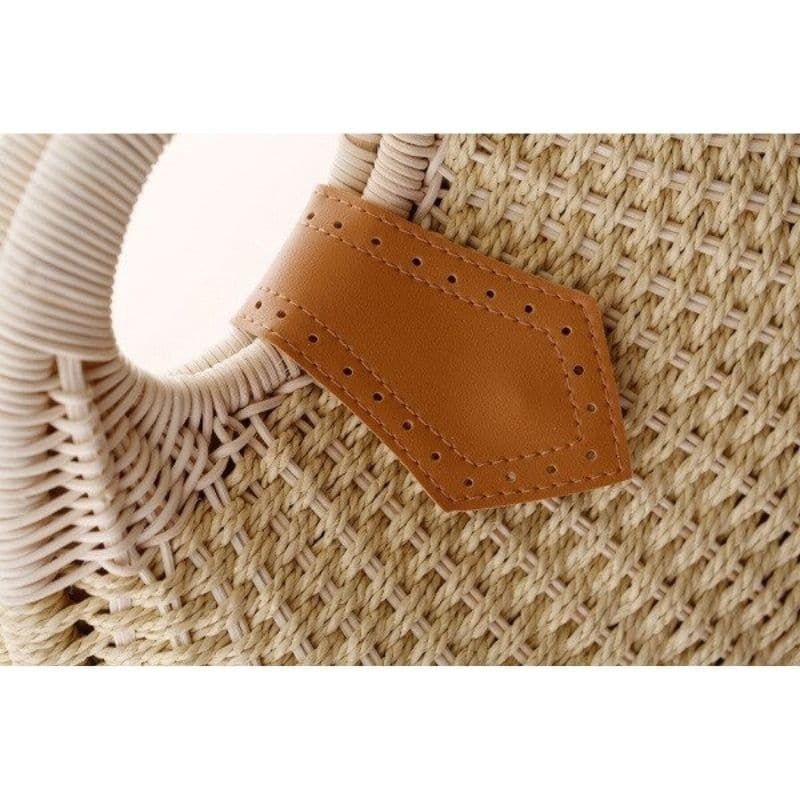 Beige straw basket bag suggest