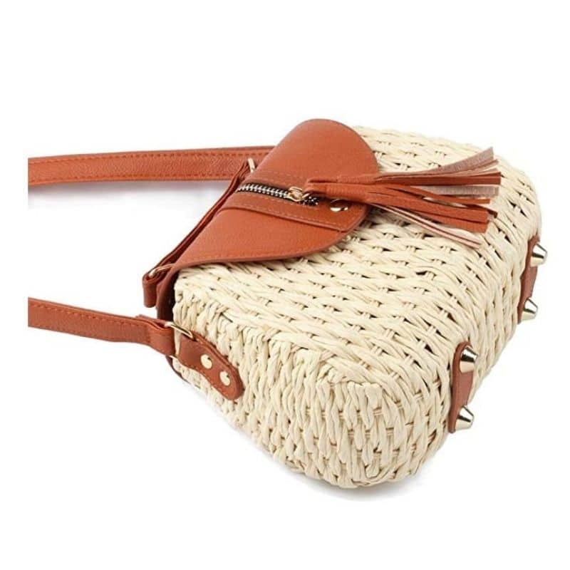 Beige straw purse better