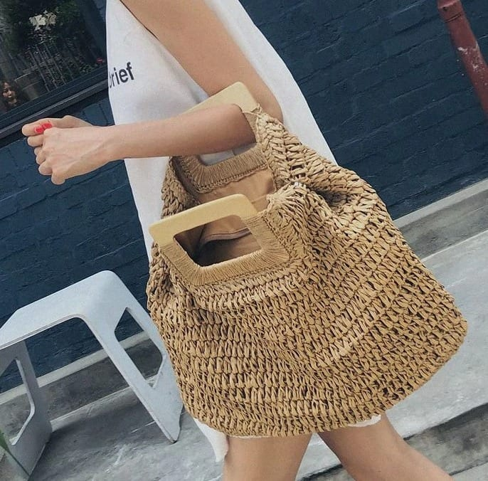 What vintage straw handbag rattan 2021