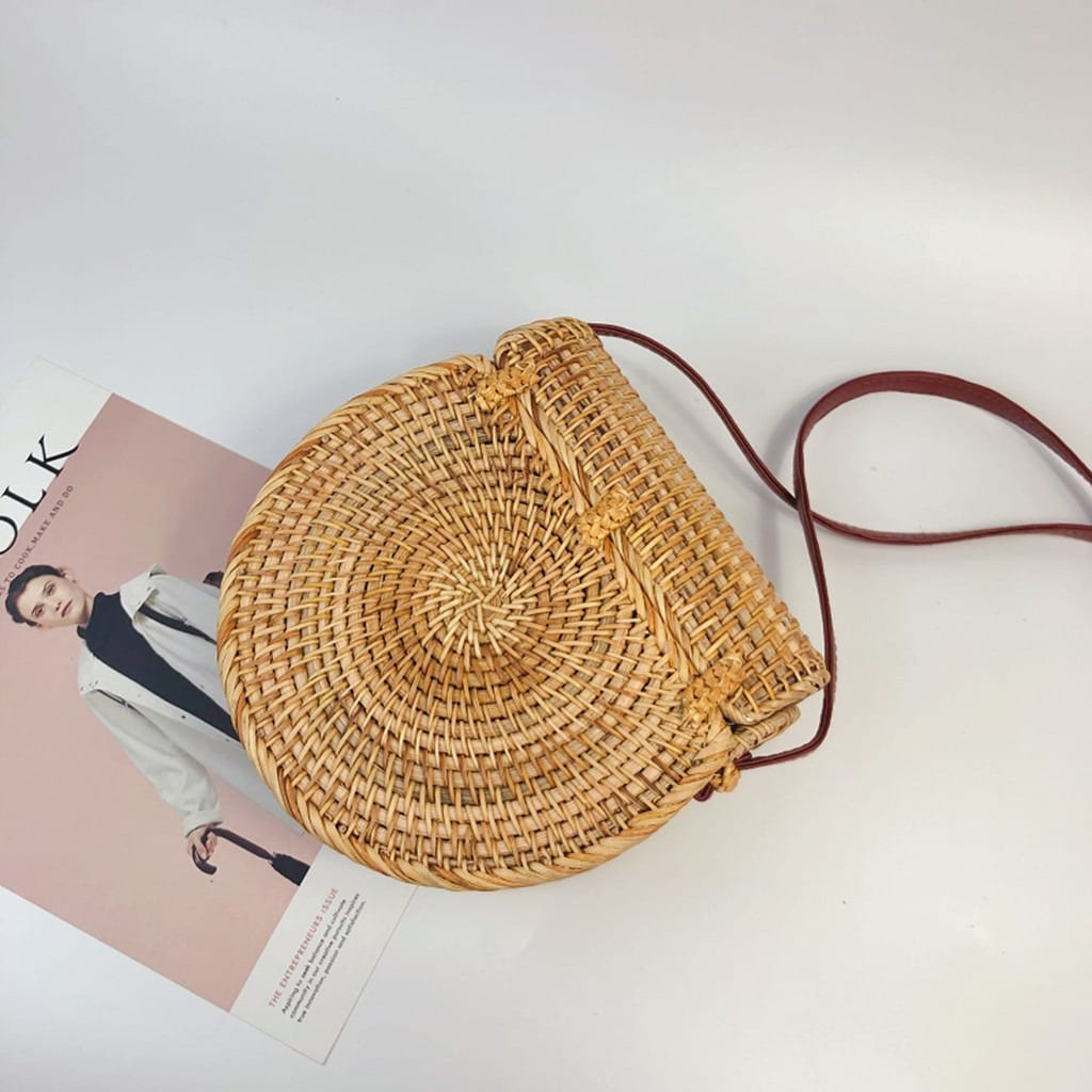 White round straw purse
