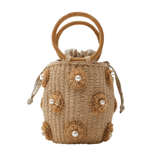 How much summer straw bag with leather handles and totes