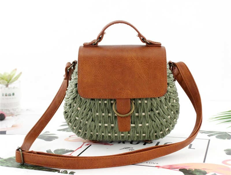 Knitted straw tote handbag suggest