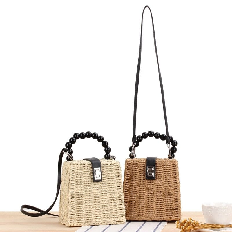 Bamboo summer straw handbag