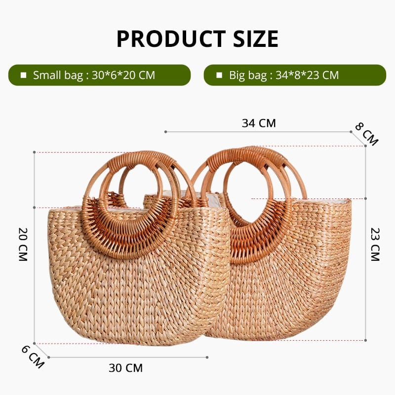 Market woven leather bag