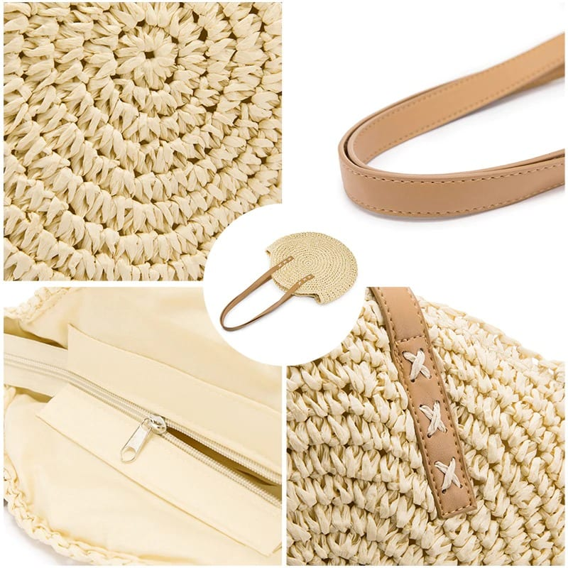 Hard circle straw bag