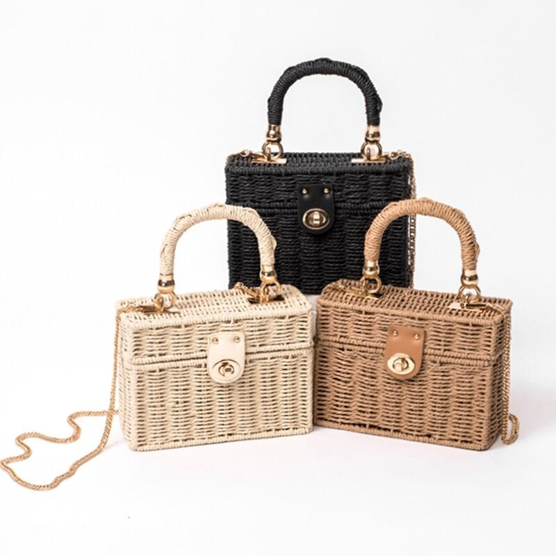 Which brown wicker bag