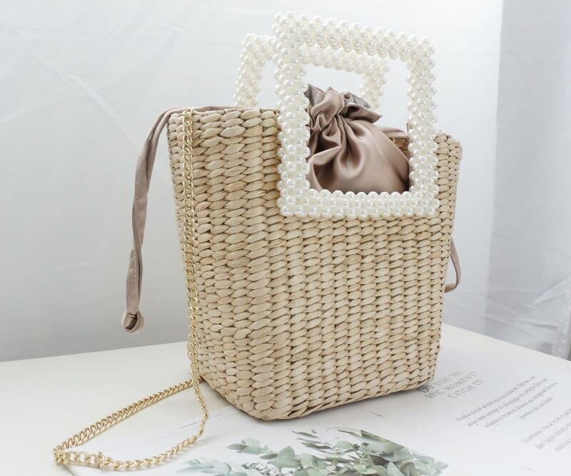 How long handle summer straw handbag top