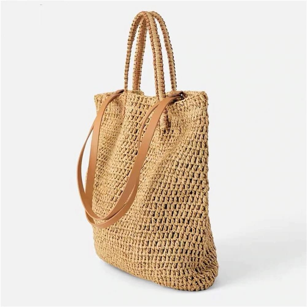 Which round straw bag with flowers