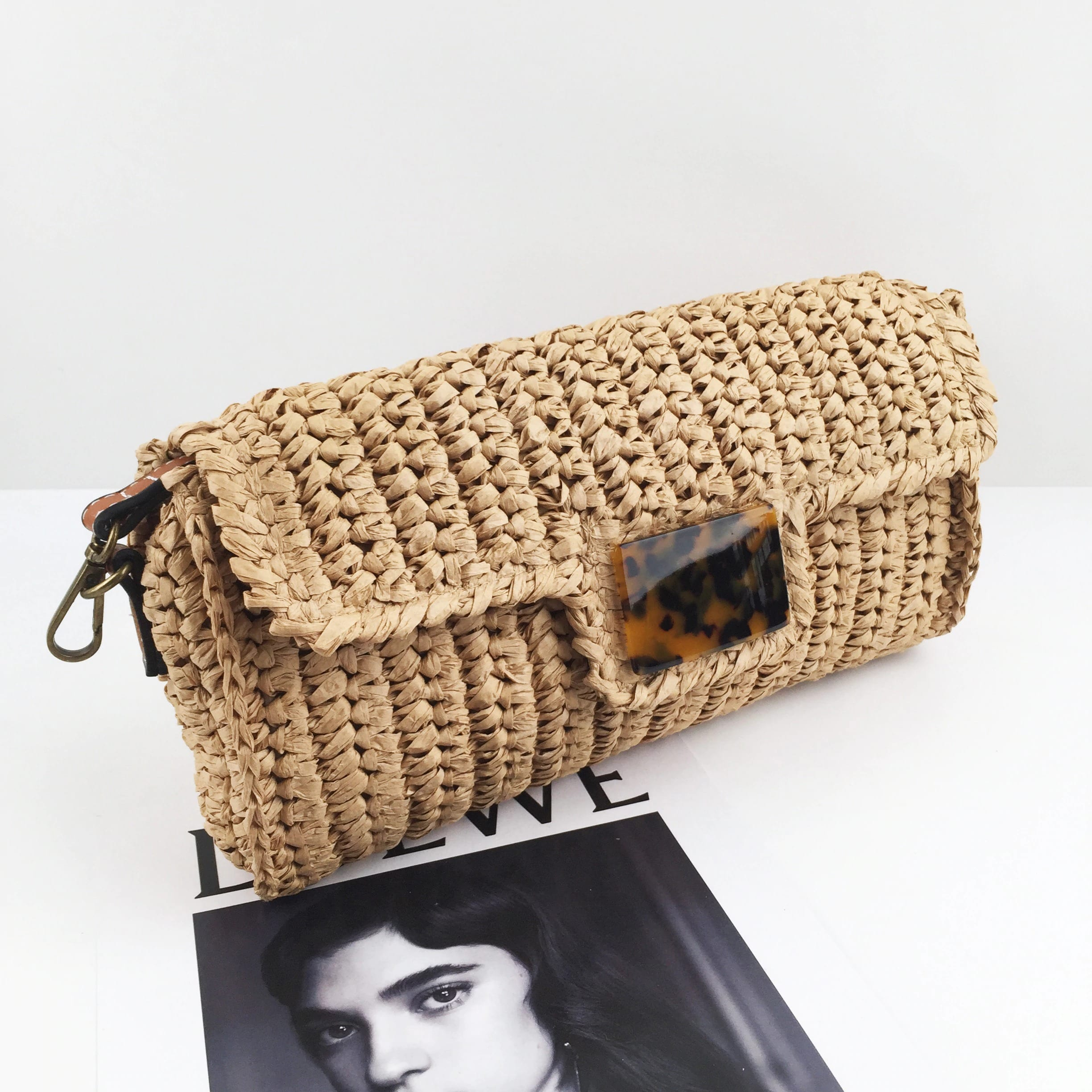 How white woven bag suggest