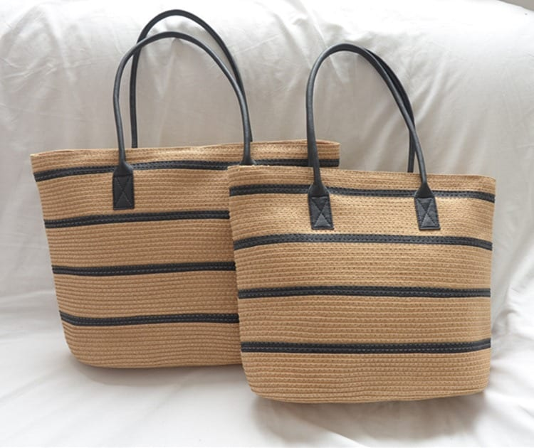 When holiday large straw beach bag