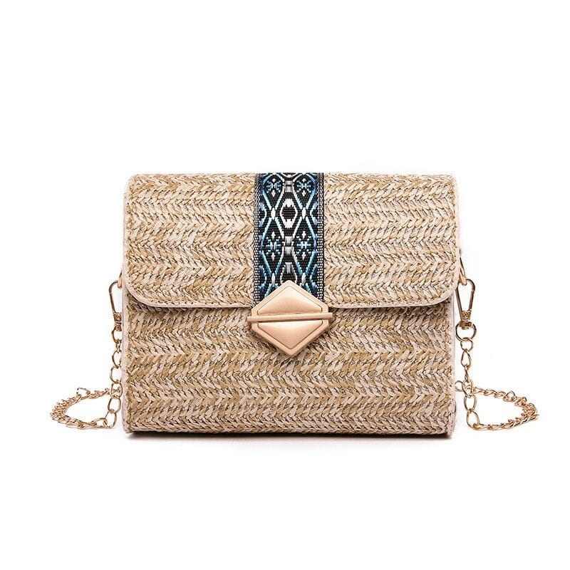When beige woven leather bag suggest