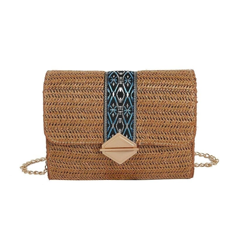 Straw pocketbook with zipper top