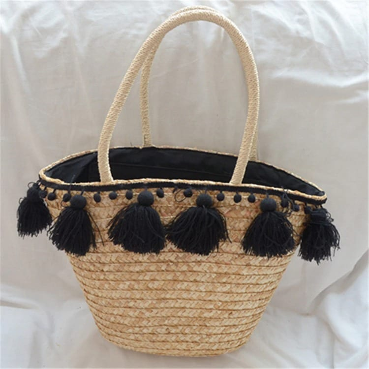 Where lined wicker handbag top