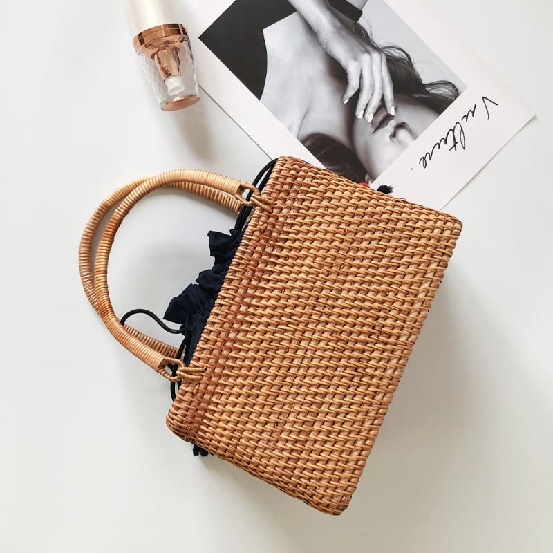 Small woven backpack premium