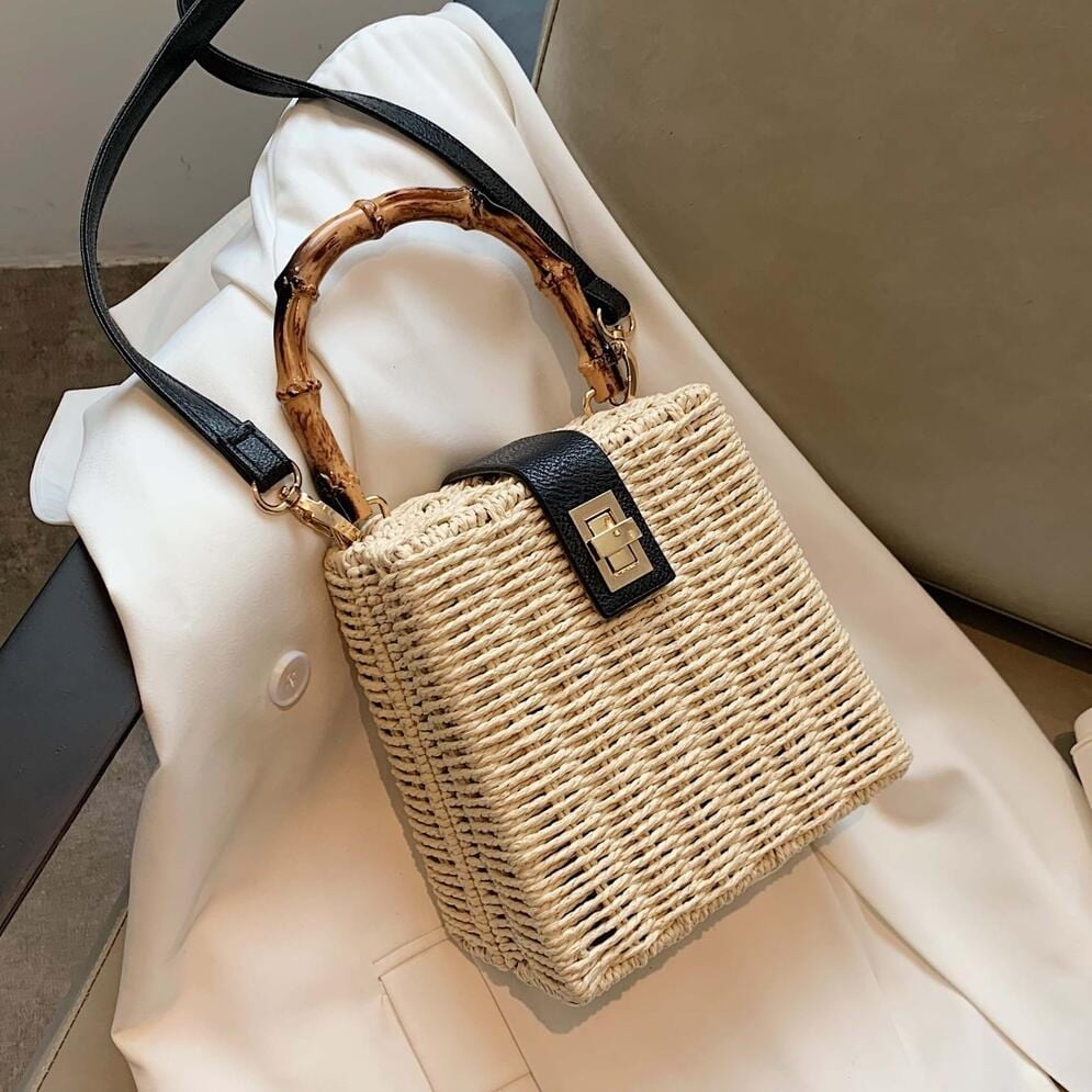 How long rattan tote bag with flowers good