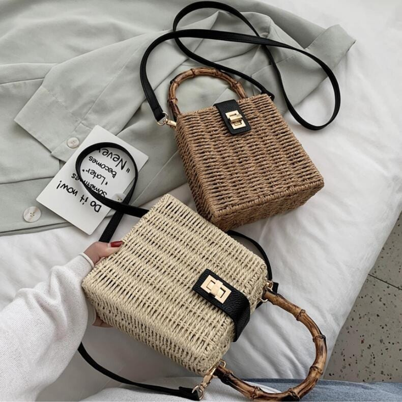 Which bohemian vintage straw handbags suggest