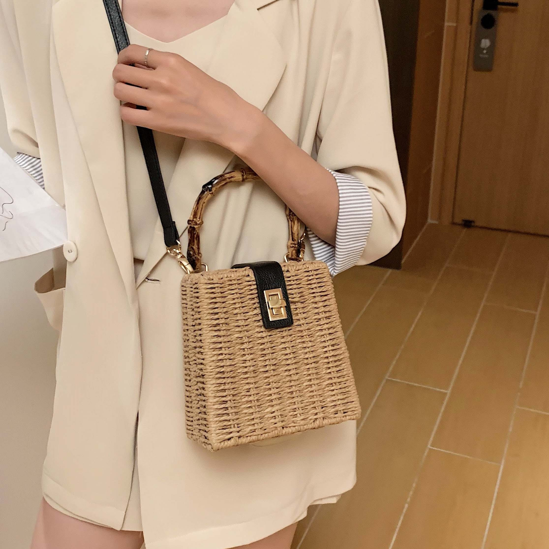Half moon woven leather bag suggest
