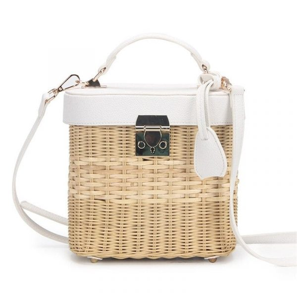 Rattan Box Handbag - Leather Woven Crossbody Bag - Straw Bag with Leather