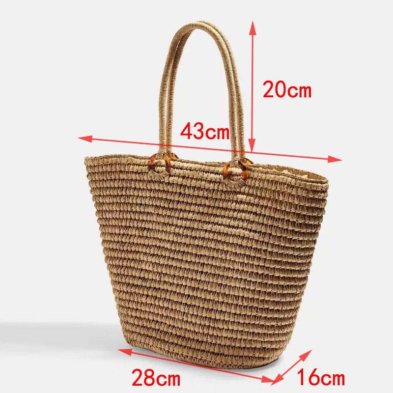 How long straw totes for summer leather handles