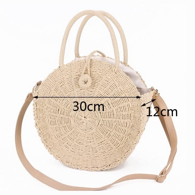 Circular summer straw bag