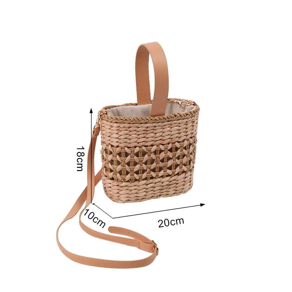 How small woven straw beach bags