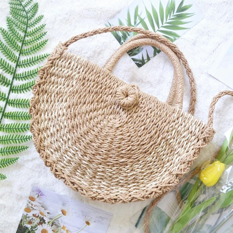 Why beige straw market bag quality