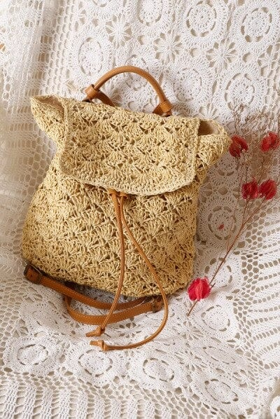 Where bamboo woven leather handbag